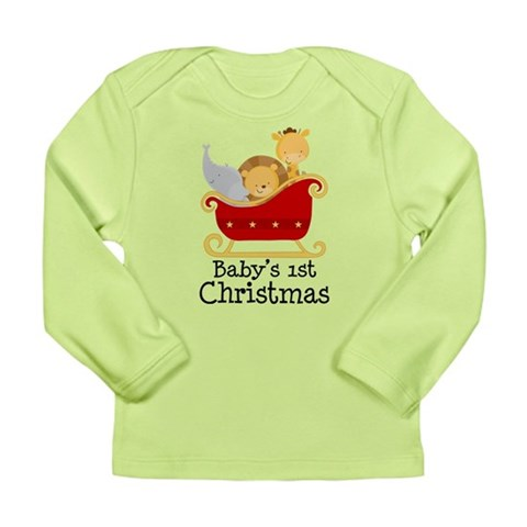 Baby's 1st Christmas Zoo Animals Long Sleeve Infan Holiday Long Sleeve Infant T-Shirt by CafePress