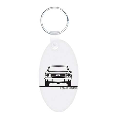 1965 Mustang Front amp; Back Aluminum Oval Keycha Hobbies Aluminum Oval Keychain by CafePress