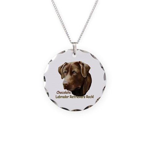 Chocolate Labs Rock  Dogs Necklace Circle Charm by CafePress