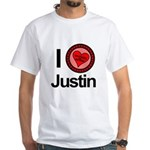 I Love Justin Brothers & Sisters White T-Shirt