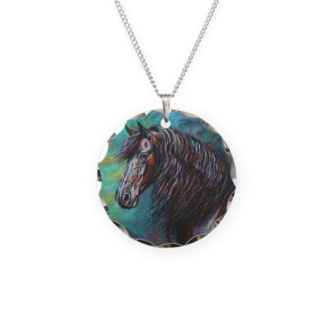 Zelvius the Friesian horse  Horse Necklace Circle Charm by CafePress