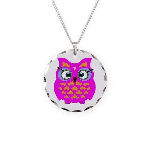 Colorful Owls  Retro Necklace Circle Charm by CafePress