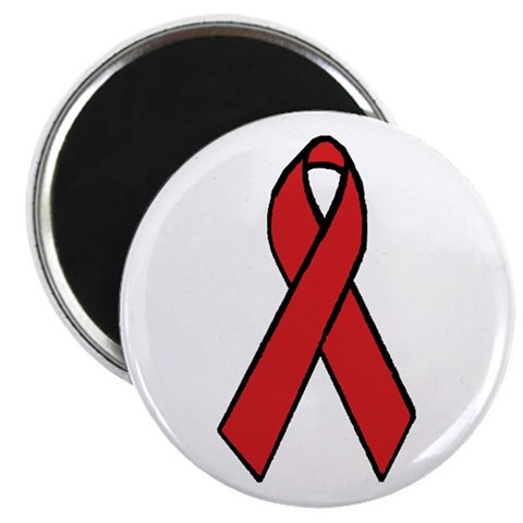 AIDS Awareness Ribbon  Breast cancer 2.25 Magnet 100 pack by CafePress
