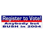 Register Against Bush Bumper Sticker