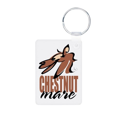 Chestnut mare photo keychain Humor Aluminum Photo Keychain by CafePress