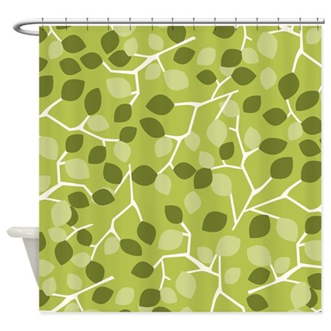Branch Leaves Green  Green Shower Curtain by CafePress