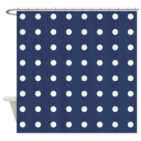 Polka Dots Navy  Pattern Shower Curtain by CafePress