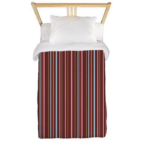 Stripes Brown Pink  Fun Twin Duvet by CafePress