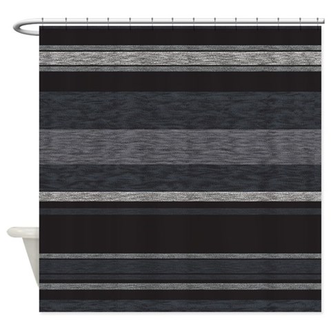 Textured Striped BW  Modern Shower Curtain by CafePress