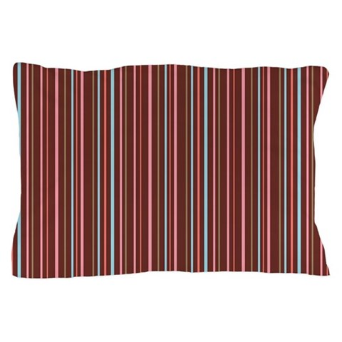 Stripes Brown Pink  Fun Pillow Case by CafePress