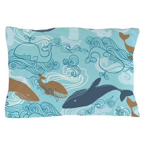 Whale Waves Brown Blue  Ocean Pillow Case by CafePress