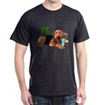 Airedale at the Beach by Vampire Dog Dark T-Shirt
