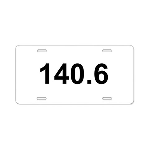 140.6 Ironman Triathlon  Running Aluminum License Plate by CafePress