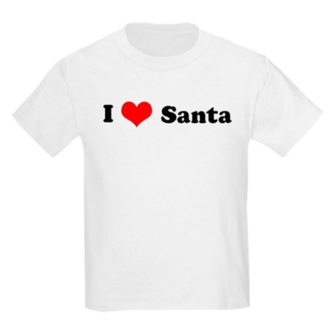 I Love Santa Kids T-Shirt Love Kids Light T-Shirt by CafePress