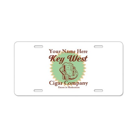Buy cigar company gifts - Key West Cigar Company license plate frame