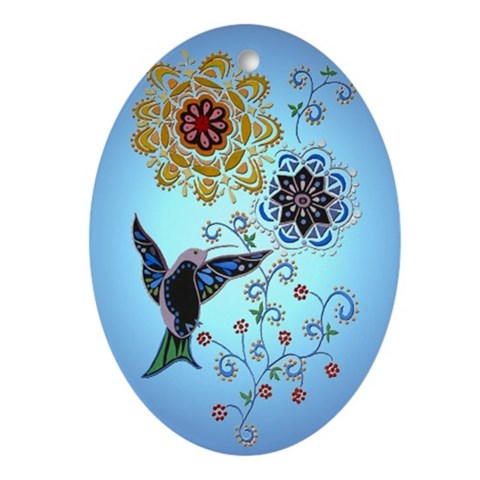 Hummingbird Ornament Oval Hummingbird Oval Ornament by CafePress