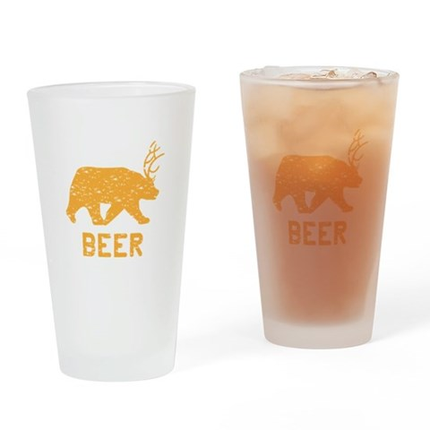 Bear  Deer  Beer  Funny Drinking Glass by CafePress