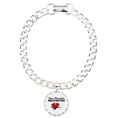 Dean makes my heart throb Charm Bracelet, One Char Supernaturaltv Charm Bracelet, One Charm by CafePress