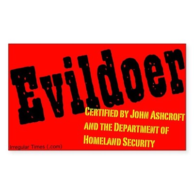 Certified Evildoer Sticker (Rectangle)