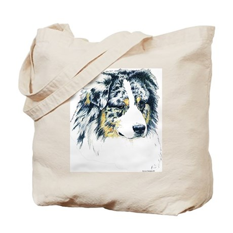 Blue Merle Aussie Australian Shepherd Canvas Tote Bag