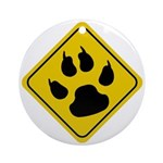 Cat Paw Crossing Sign Ornament