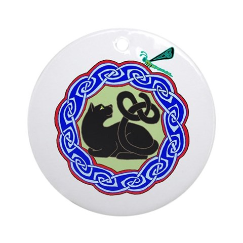 black cat dragonfly Ornament Round Pets Round Ornament by CafePress