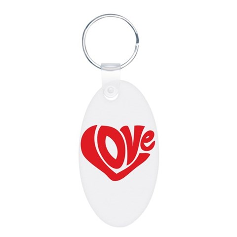 Cute I Heart Love Valentines Day Aluminum Oval Key Funny Aluminum Oval Keychain by CafePress