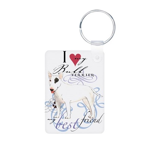 Bull Terrier  Pets Aluminum Photo Keychain by CafePress