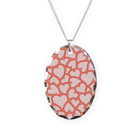 Heart Valentines Day Patterns  Cute Necklace Oval Charm by CafePress