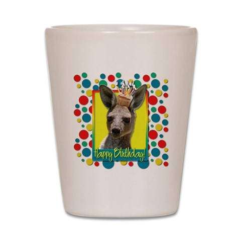 Birthday Cupcake - Kangaroo  Animal Shot Glass by CafePress