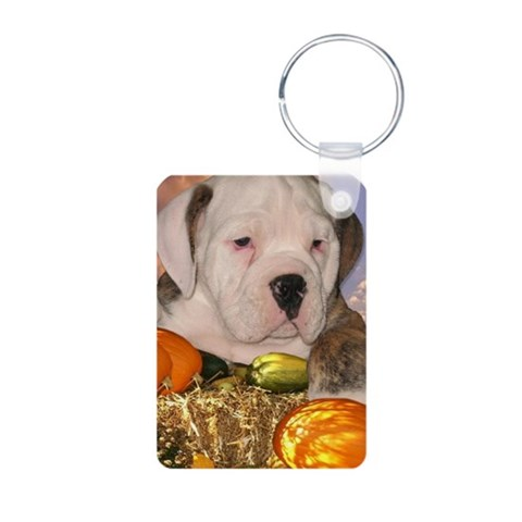 Bulldog Puppy 1  Pets Aluminum Photo Keychain by CafePress