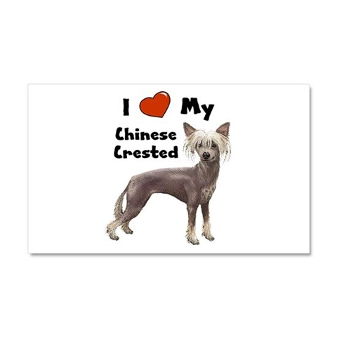 I Love My Chinese Crested  Pets Car Magnet 20 x 12 by CafePress