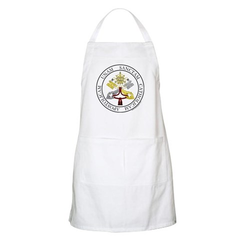 4 Marks of the Church - Latin BBQ  Christian Apron by CafePress