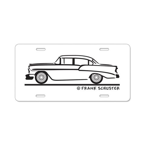 1956 Chevy Sedan 210  Hobbies Aluminum License Plate by CafePress