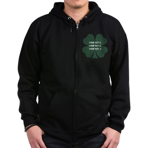 Product Image of [Your text] St. Patrick's Day Zip Hoodie (dark)