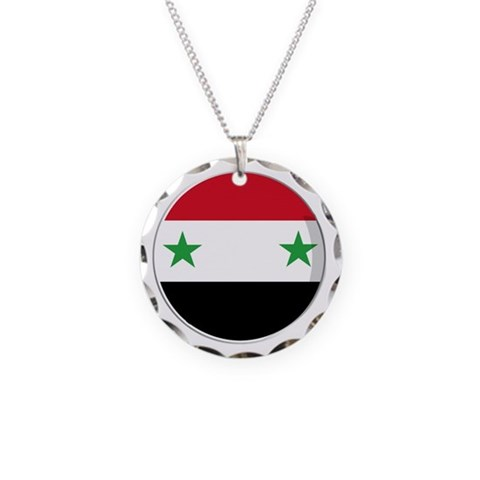 Cool Syrian National flag designs Necklace Circle Syria Necklace Circle Charm by CafePress