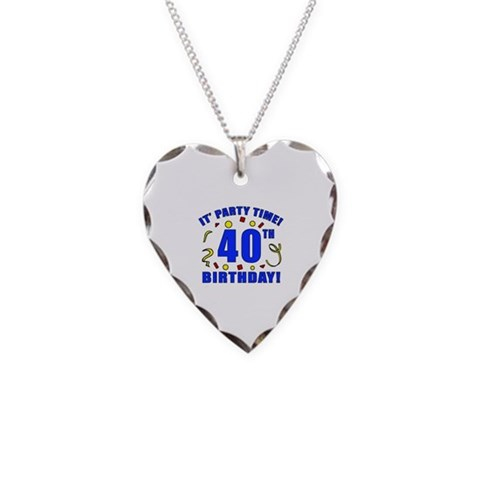 40th Birthday Party Time  Funny Necklace Heart Charm by CafePress