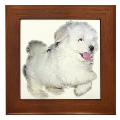 Cute puppy Pets Framed Tile by CafePress