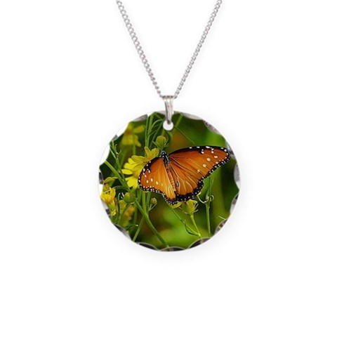 Butterfly   Necklace Circle Charm by CafePress