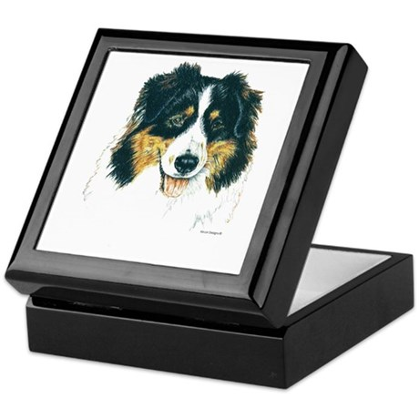 Australian Shepherd Tri Head Keepsake Box