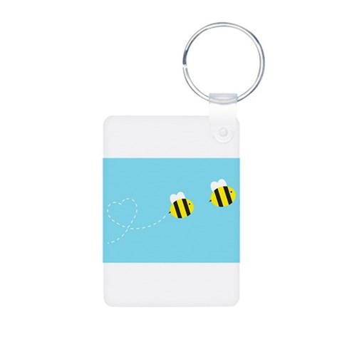 Bee In Love - Sky Background Aluminum Photo Keycha Cute Aluminum Photo Keychain by CafePress