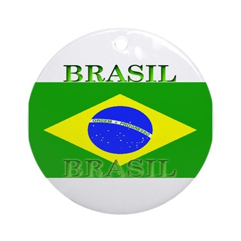 Brasil Flag Christmas Ornament Round Brazil Round Ornament by CafePress