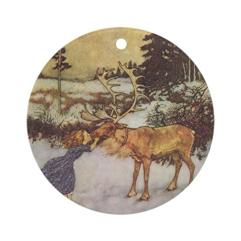 Dulac's Gerda Reindeer Ornament Round Fairy tale Round Ornament by CafePress