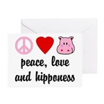 Peace Love Hipponess Greeting Cards