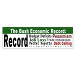 The Bush Economic Record Bumper Sticker