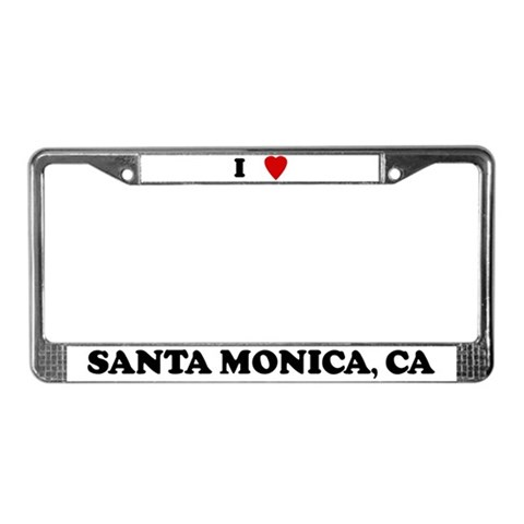 I Love Santa Monica Love License Plate Frame by CafePress