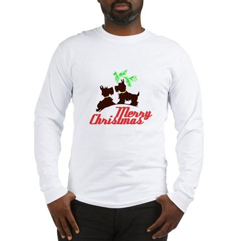 Merry Christmas Scotty Dogs - Kitschy Christmas Lo Xmas Long Sleeve T-Shirt by CafePress