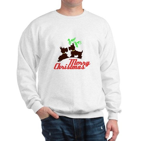 Merry Christmas Scotty Dogs - Kitschy Christmas Sw Xmas Sweatshirt by CafePress
