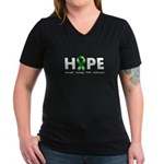 Green Ribbon Hope Women's V-Neck Dark T-Shirt