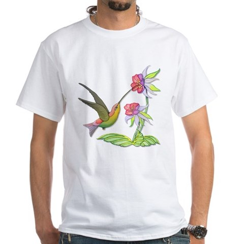 Hummingbird Flight  Art White T-Shirt by CafePress